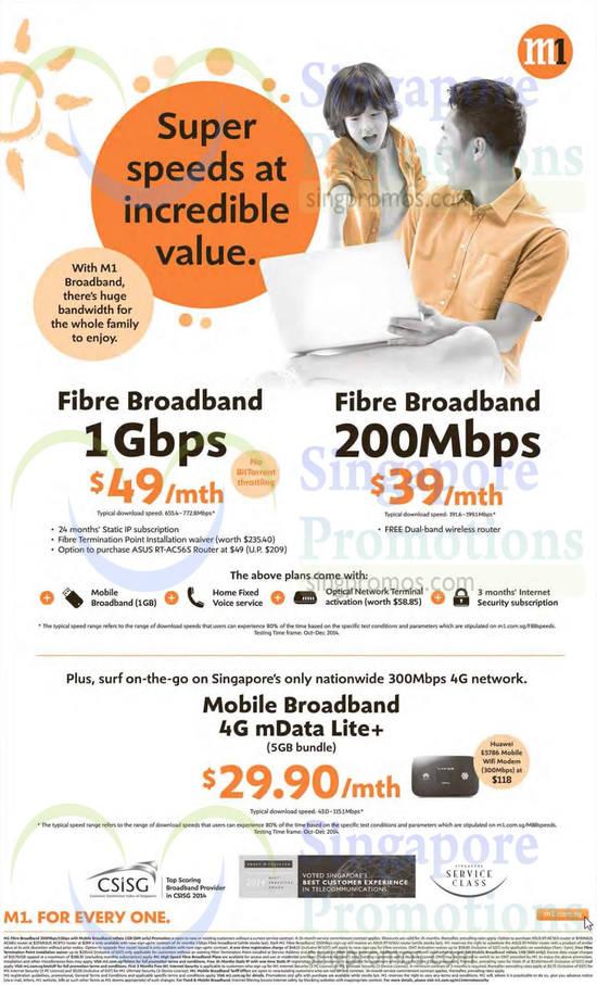 49.00 1Gbps Fibre Broadband, 39.00 200Mbps Fibre Broadband, 29.90 Mobile Broadband 4G mData Lite Plus