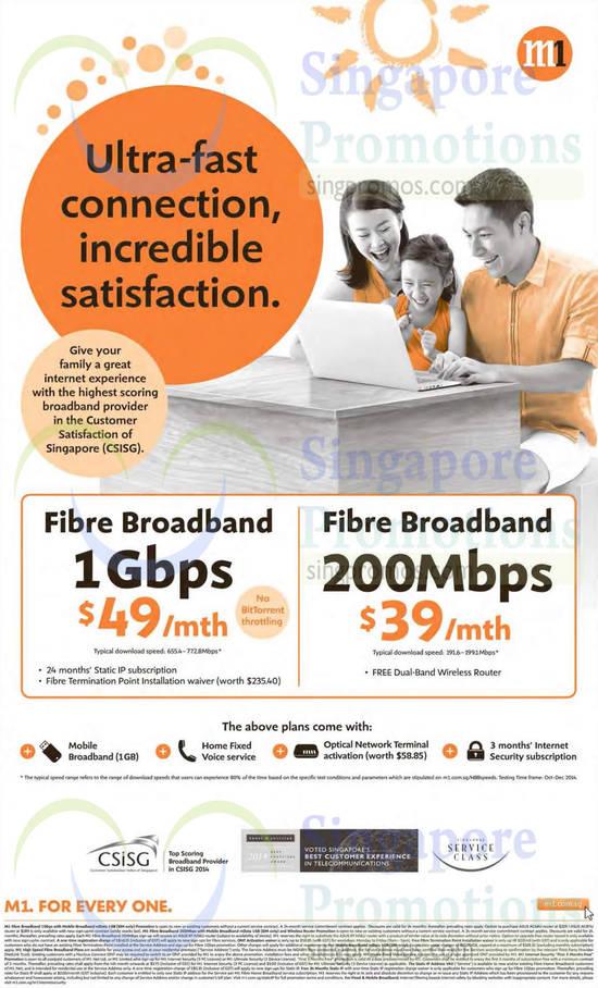49.00 1Gbps Fibre Broadband, 39.00 200Mbps Fibre Broadband