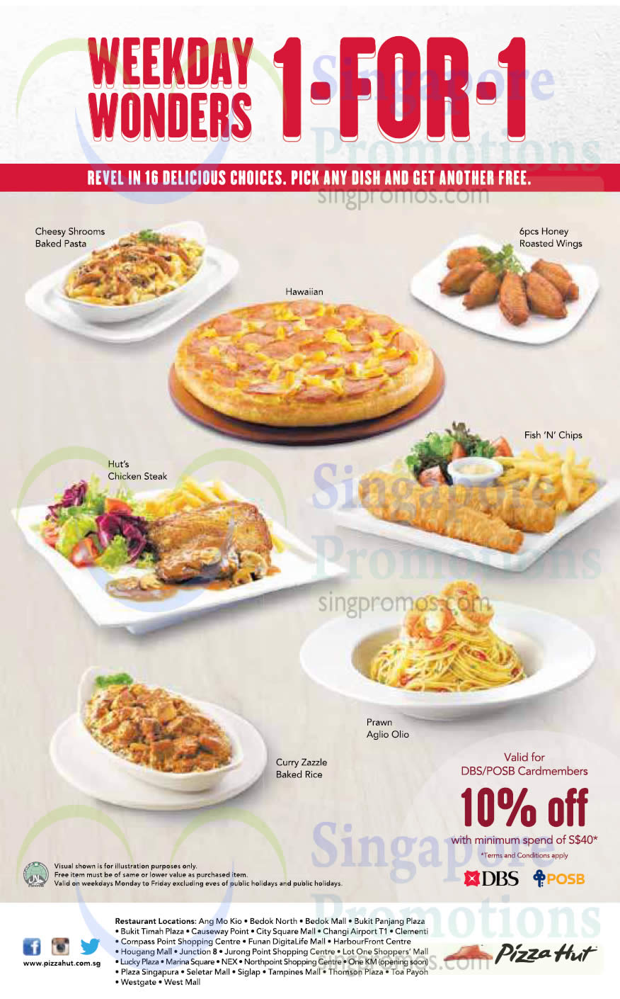 6 Jan 1 For 1 Weekday Wonders, Pizza, Pasta, Fish n Chips. Baked Rice