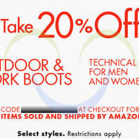 Read more about Amazon.com 20% OFF Outdoor & Work Boots (NO Min Spend) Coupon Code 9 - 23 Jan 2015