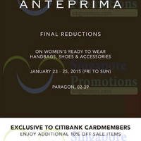 Read more about Anteprima Final Reductions @ Paragon 23 - 25 Jan 2015