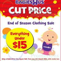 "Babies ""R"" Us End of Season Clothing Sale @ City Square Mall 28 Jan - 2 Mar 2015"