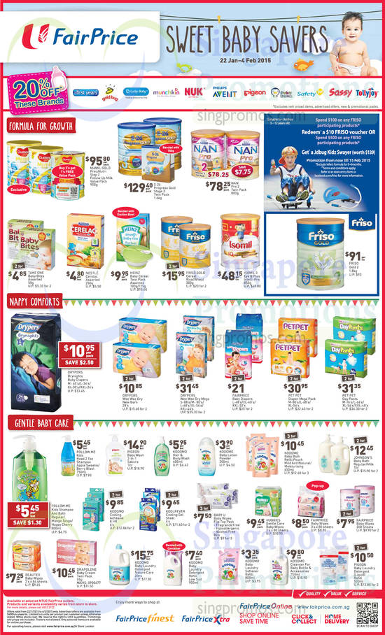 Mamil Gold PreciNutri Step 2 Follow Up Milk Value Pack, S-26 Progress Gold Stage 3 Twin Pack, NAN Pro 2 Twin Pack, Isomil 3 Eye Q Plus Intelli-Pro, FRISO Gold 2, Drypers Wee Wee Dry Mega, Pet Pet Diaper Mega Pack, Pet Pet Day Pants