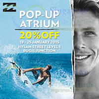 Read more about Billabong 20% Off Pop-Up Store Promo @ Bugis Junction 19 - 25 Jan 2015