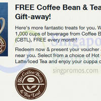 Read more about Coffee Bean & Tea Leaf FREE Beverage Voucher For Singtel Customers (Fully Redeemed!) 12 Jan 2015