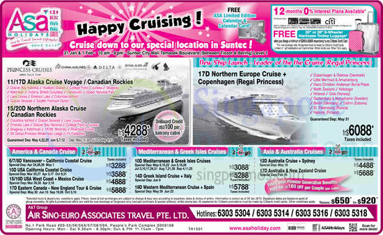 Cruise Promotions, Free ASA Limited Edition Calendar And Calendar Card, Free Hardcase Trolley Luggage, Citibank Credit Cards