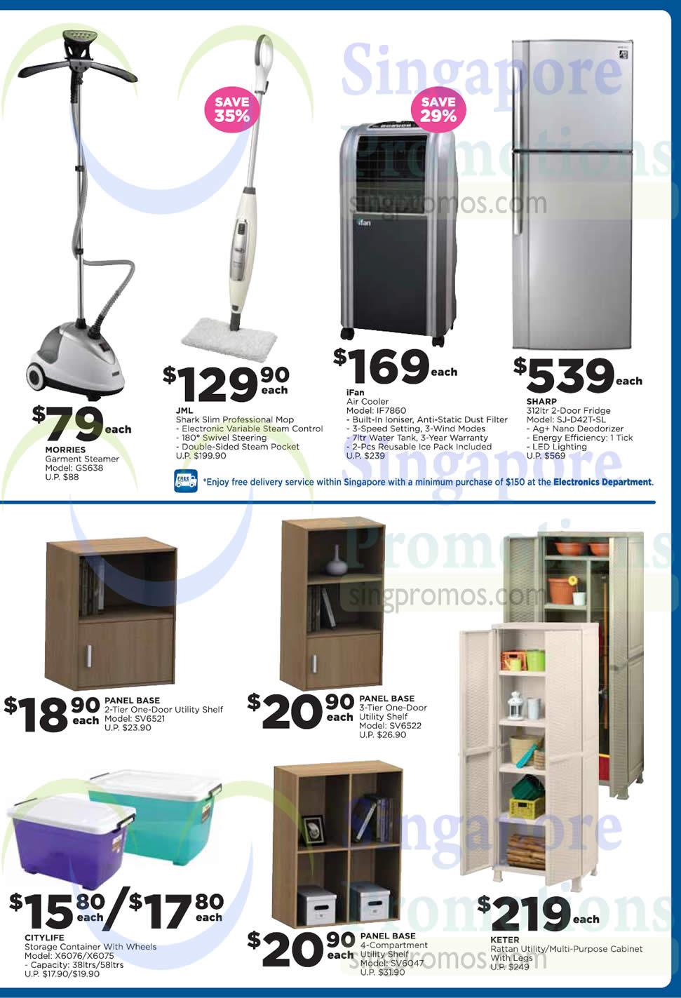 Electronics Home Basics Fridges Steamer Mop Jml Morries Ifan Sharp 187 Ntuc Fairprice