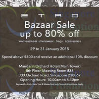 Read more about Etro Bazaar SALE @ Mandarin Orchard Hotel 29 - 31 Jan 2015