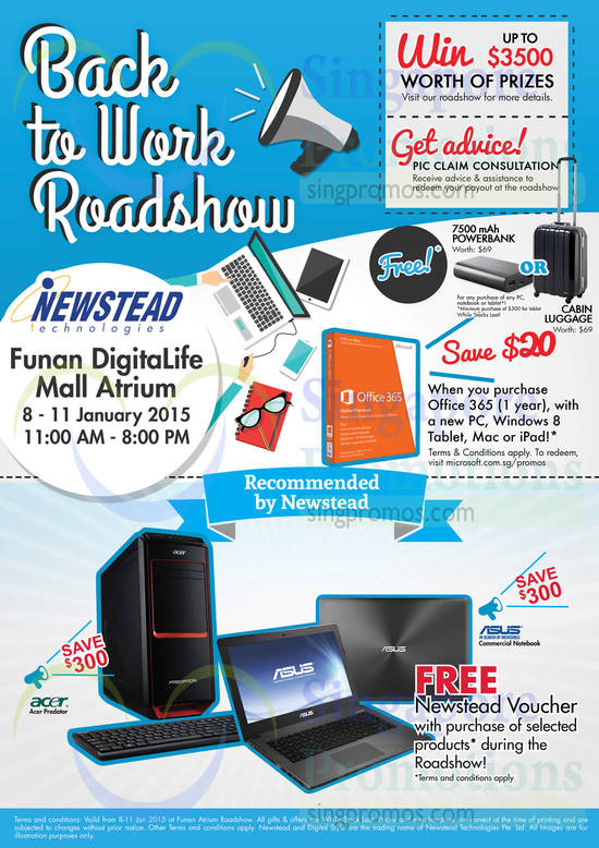 Free Newstead Voucher, Acer Predator, ASUS Commercial Notebook, Microsoft Office 365