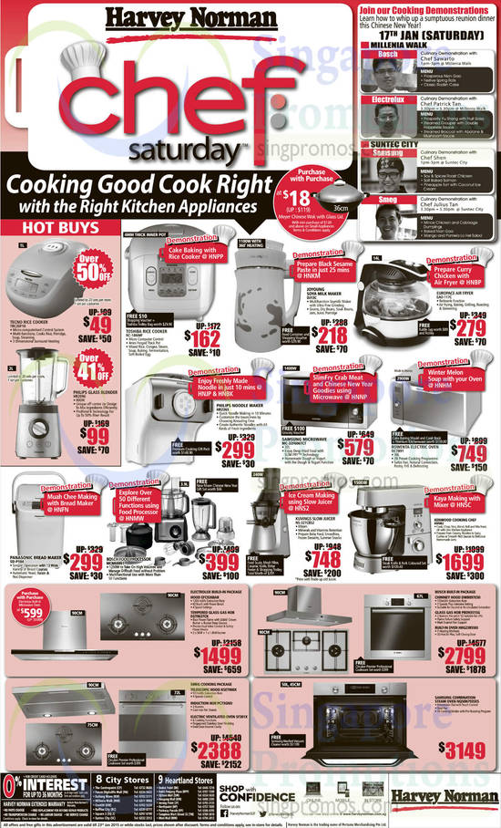 Tecno TRC30F10 Rice Cooker, Philips HR2096 Blender, Toshiba RC-18NMF Rice Cooker, Joyoung DJ13C Milk Maker, Philips HR2365 Noodle Maker, Samsung MC-32F606TCT Oven, Rowenta OC7891 Oven, EuropAce EAO-117C Air Fryer, Kenwood KM082 Mixer, Kuvings NS-321CB52 Juicer, Bosch MCM68861 Food Processor, Panasonic SD-P104 Bread Maker, Samsung NQ50H7935ES Oven