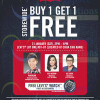 Read more about Levi's Buy 1 Get 1 FREE Storewide @ Lot One 31 Jan 2015