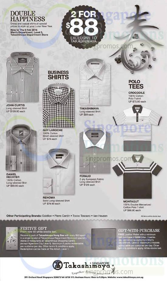 John Curtis Long-sleeved Shirt, Guy Laroche Short-sleeved Shirt, Takashimaya Long-sleeved Shirt, Crocodile Polo T-shirt, Daniel Hechter Long-sleeved Shirt, Renoma Long-sleeved Shirt, Feraud Long-sleeved Shirt, Montagut Polo T-shirt