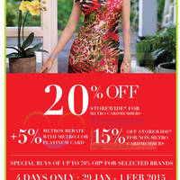 Metro 15% OFF Storewide Promo 29 Jan - 1 Feb 2015