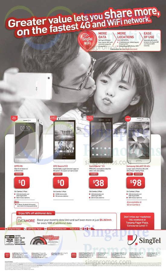 Oppo R5, HTC Desire 510, Sony Xperia C3, Samsung Galaxy S5, Tanjong Pagar Plaza Singtel Roadshow