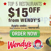 Room Service Food Delivery $15 OFF Wendy's, Chili's, Four Fingers & More Coupon Code 31 Jan - 6 Feb 2015
