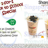 Read more about ShareTea 1 For 1 Student Offer @ OneKM 5 - 9 Jan 2015