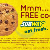 Read more about Subway FREE Cookie Coupon 17 Jan - 28 Feb 2015