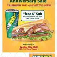 Read more about Subway Buy 1 Get 1 FREE (BOGO) Sub @ Suntec City Mall 23 Jan 2015