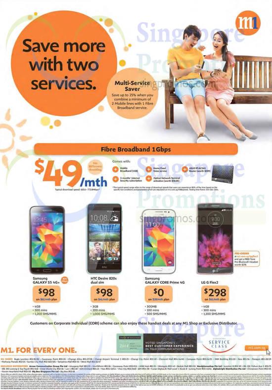 49.00 Fibre Broadband 1Gbps, Samsung Galaxy S5, Samsung Galaxy Core Prime, LG G Flex2, HTC Desire 820s Dual Sim