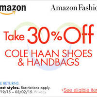 Read more about Amazon.com 30% OFF Cole Haan Shoes & Handbags Coupon Code (NO Min Spend) 23 Feb - 3 Mar 2015