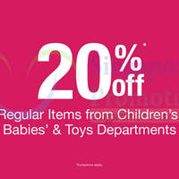 Read more about BHG 20% Off Children's, Babies' & Toys Items 2 - 26 Feb 2015