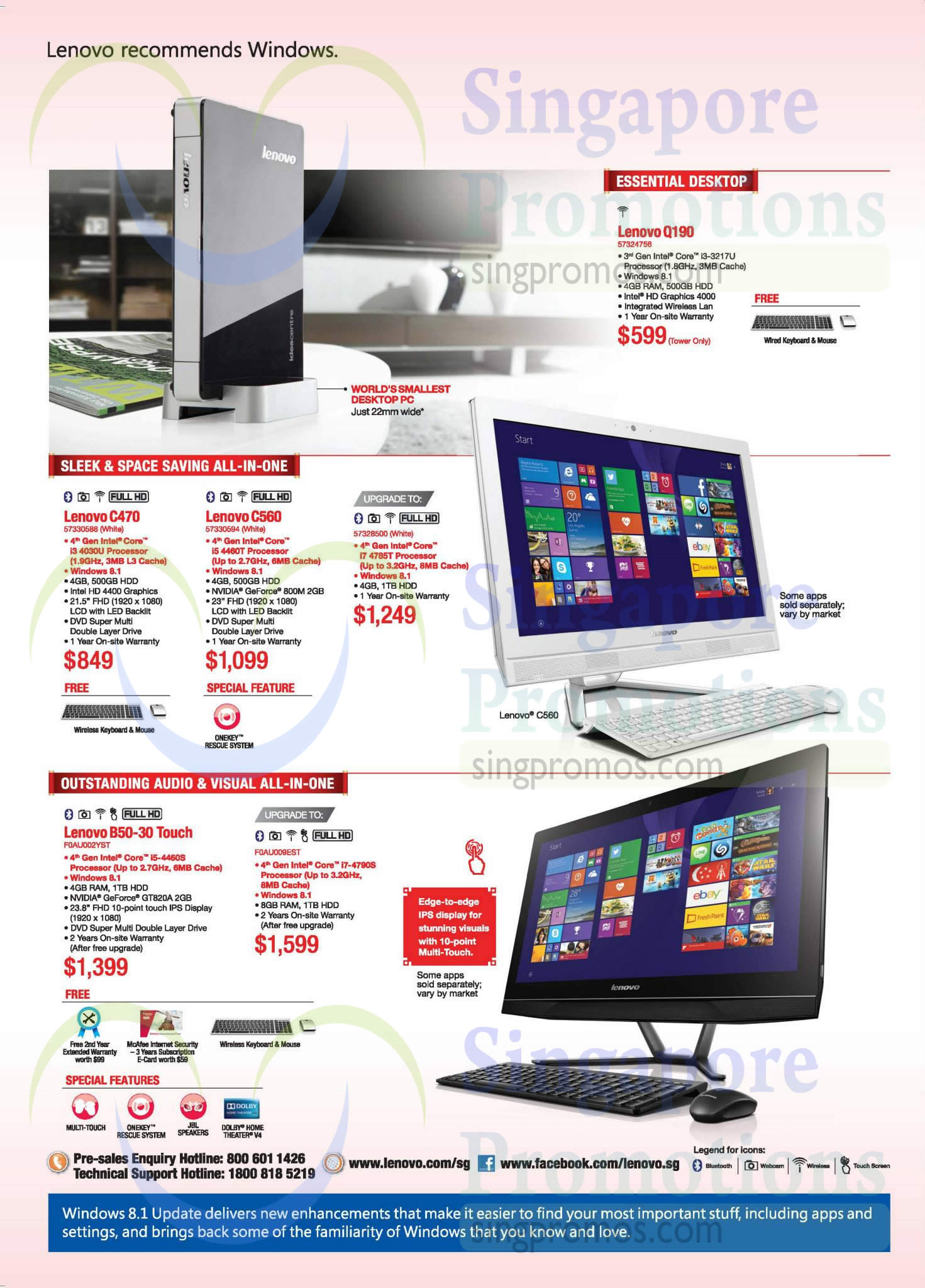 Desktop PCs, Lenovo CPU, Q190, C470, C560, B50-30, IPS Display