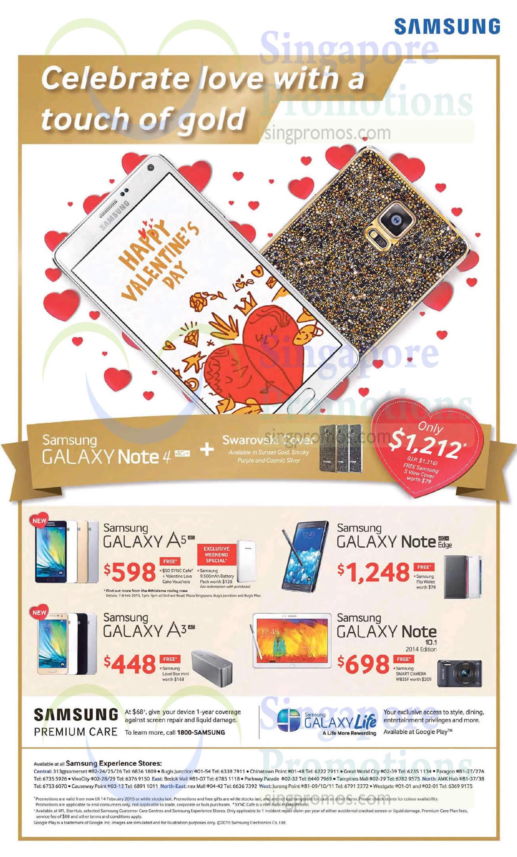 Samsung GALAXY Note 4, Samsung GALAXY Note Edge, Samsung GALAXY A5, Samsung GALAXY A3, Samsung GALAXY Note 10.1 2014 Edition