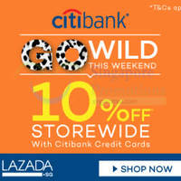 Lazada 10% Off Storewide With Citibank Cards (NO Min Spend) 29 - 30 Aug 2015