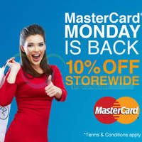 Lazada 10% Off Storewide MasterCard Mondays (NO Min Spend) 12 Oct 2015