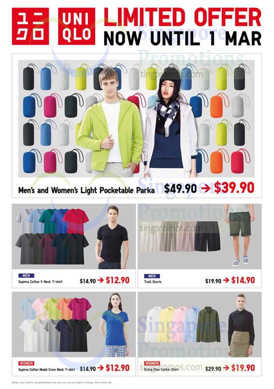 Men n Women Light Pocketable Parka, Supima Cotton, Twill Shorts