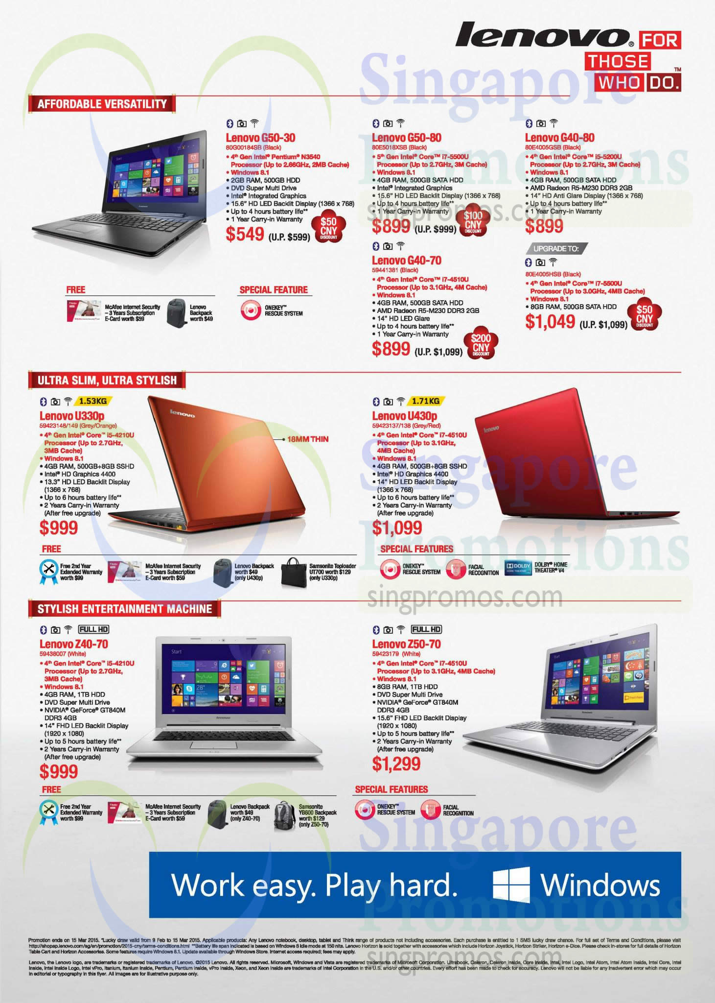 Notebooks, G50-30, G50-80, G40-80, G40-70, U330p, U430p, Z40-70, Z50-70