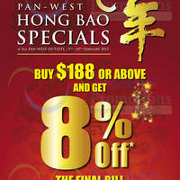 Read more about Pan-West 8% Off Selected Items Hongbao Specials 5 - 18 Feb 2015