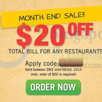 Read more about Room Service Food Delivery $20 OFF Coupon Code 28 Feb - 2 Mar 2015