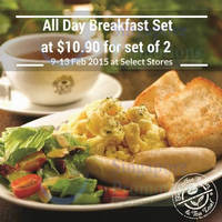 Read more about The Coffee Bean & Tea Leaf 45% Off All-Day Breakfast Set 9 - 11 Feb 2015