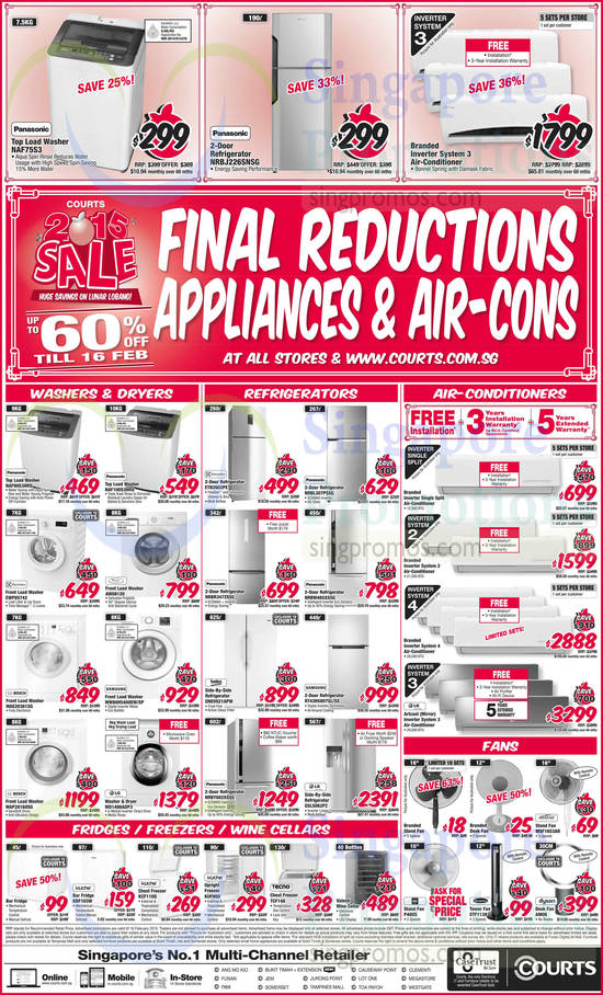 Panasonic NAF75S3 Washer, Panasonic NRBJ226SNSG Fridge, Panasonic NAF90S3HRQ Washer, Panasonic NAF100S3HRQ Washer, Electrolux EWP85742 Washer, Whirlpool AW08120 Washer, Bosch WAE20361SG Washer, Samsung WW80H5400EW/SP Washer, Bosch WAP20160SG Washer, LG WD1486ADP3 Washer, Electrolux ETB2602PE Fridge, Panasonic NRBL307PSSG Fridge, Panasonic NRBR347ZSSG Fridge, Panasonic NRBW465XSSG Fridge, Beko GNEV021APW Fridge, Samsung RT43H5007SL/SS Fridge, Panasonic NRBY602XSSG Fridge, LG GSL5062PZ Fridge, Mistral MSF1653AR Fan, EuropAce ETF1139 Fan, Dyson AM06 Fan, Kuche KBF103W Fridge, Kuche KCF110Q Freezer, Kuche KUF90U Freezer and Tecno TCF148 Freezer