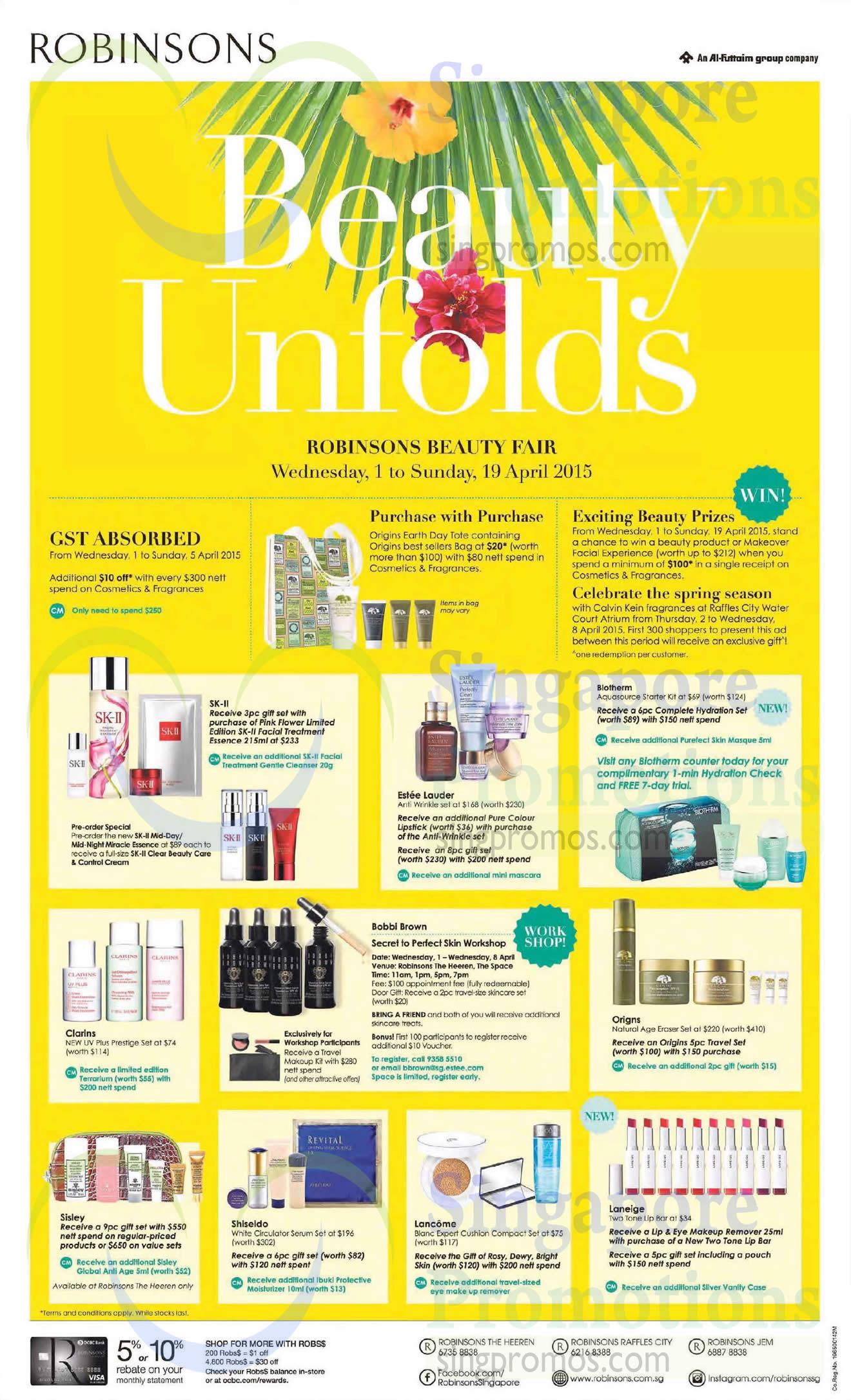 1 Apr Cosmetics, Clarins, Estee Lauder, Biotherm, SK II, Bobbi Brown, Lancome