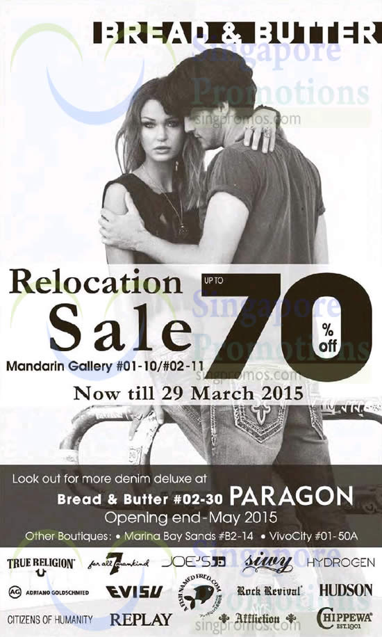 27 Mar Up to 70 Percent Off Relocation Sale
