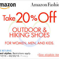 Read more about Amazon.com 20% OFF Outdoor & Hiking Shoes Coupon Code 18 - 24 Mar 2015