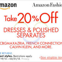 Read more about Amazon.com 20% OFF Dresses & Polished Separates (NO Min Spend) Coupon Code 21 Mar - 1 Apr 2015
