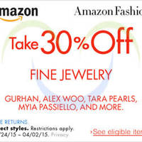 Amazon.com 30% OFF Fine Jewellery (NO Min Spend) Coupon Code 27 Mar - 3 Apr 2015