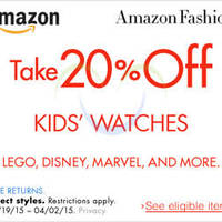 Read more about Amazon.com 20% OFF Kids Watches (NO Min Spend) Coupon Code 21 Mar - 3 Apr 2015