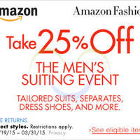 Read more about Amazon.com 25% OFF Men's Suiting Event (NO Min Spend) Coupon Code 21 Mar - 1 Apr 2015