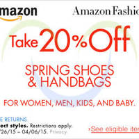 Amazon.com 20% OFF Spring Shoes & Handbags (NO Min Spend) Coupon Code 27 Mar - 7 Apr 2015