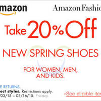 Read more about Amazon.com 20% OFF New Spring Shoes Coupon Code (NO Min Spend) 5 - 17 Mar 2015