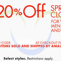 Amazon.com 20% OFF Spring Clothing (NO Min Spend) Coupon Code 27 Mar - 7 Apr 2015