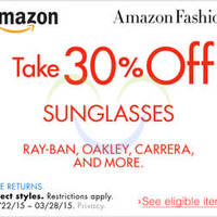 Read more about Amazon.com 30% OFF Sunglasses (NO Min Spend) Coupon Code 21 - 29 Mar 2015