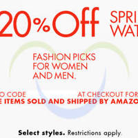 Amazon.com 20% OFF Watches (NO Min Spend) Coupon Code 28 Mar - 3 Apr 2015