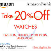 Read more about Amazon.com 20% OFF Watches Coupon Code 11 - 18 Mar 2015