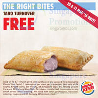 Read more about Burger King Buy Upsized Meal & Get FREE Taro Turnover Coupon 10 - 11 Mar 2015