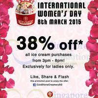 Read more about Cold Stone Creamery 38% Off Ice-Cream Storewide (Ladies Only) 8 Mar 2015